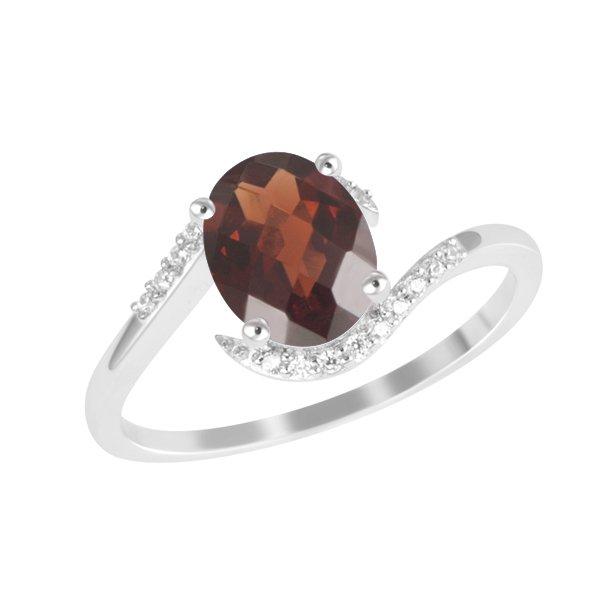 Zlatý prsten s granátem a diamanty GKW52381