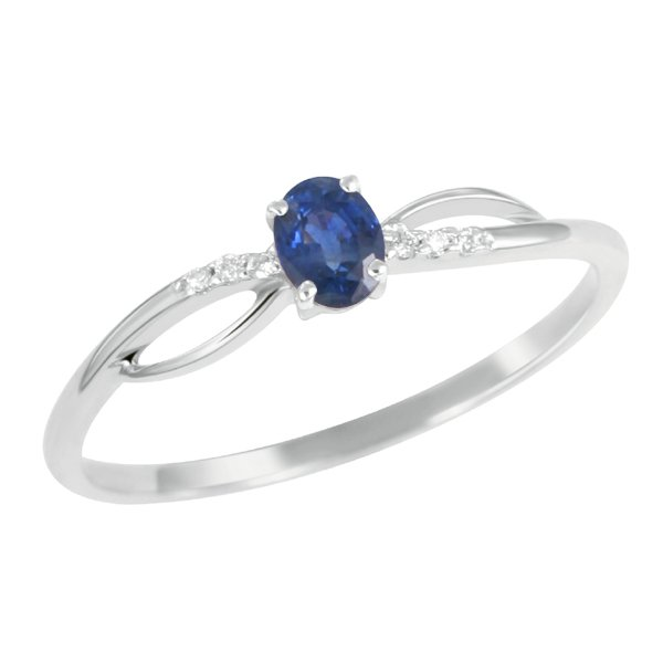 Prsten s modrým safírem a diamanty GKW46582SAF