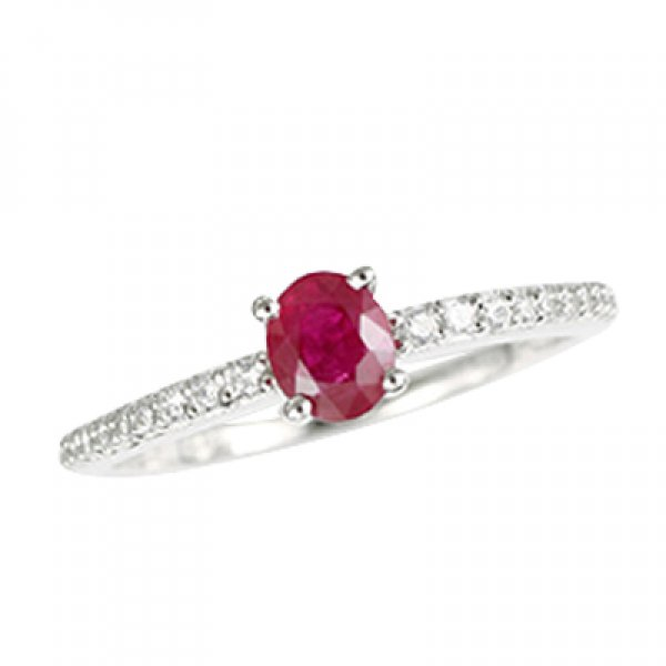 Prsten s diamanty a rubínem GKW52421