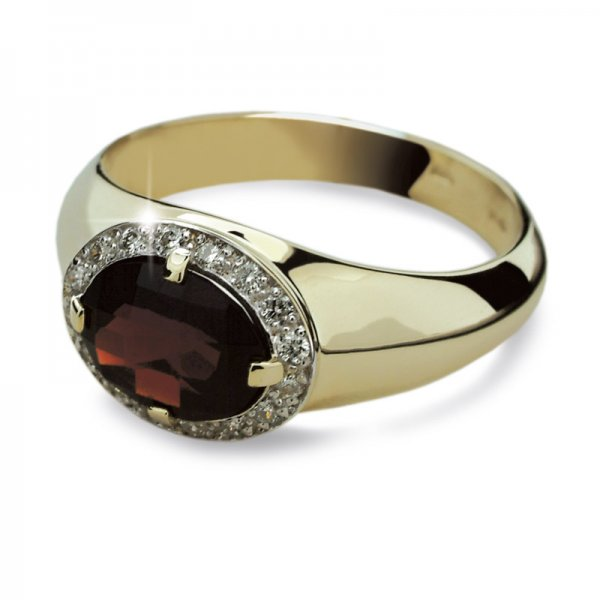 Dámský prsten s diamanty a granátem DF1892