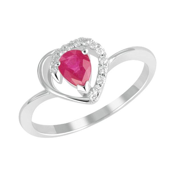 Prsten s diamanty a rubínem GKW23474