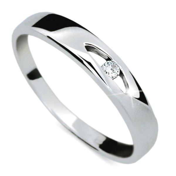 Prsten s diamantem z bílého zlata DF1281