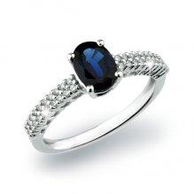Zlatý prsten se safírem a diamanty GKW52591