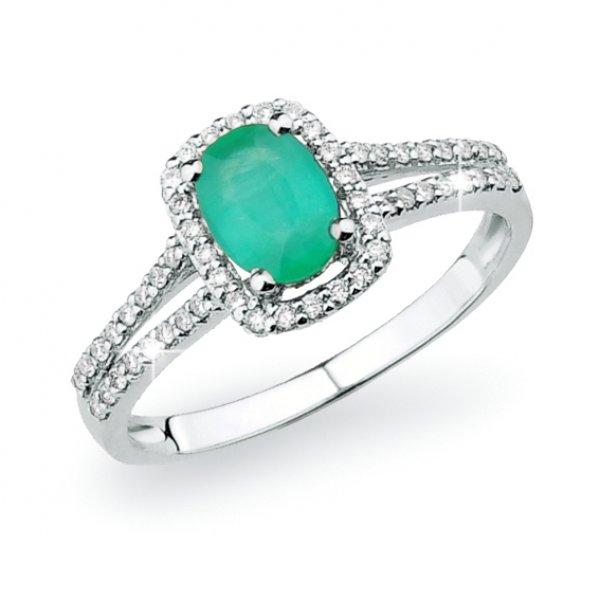 Dámský prsten se smaragdem a s diamanty GKW52511