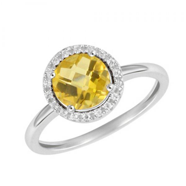 Prsten z bílého zlata s diamanty a citrínem GKW47231CIT