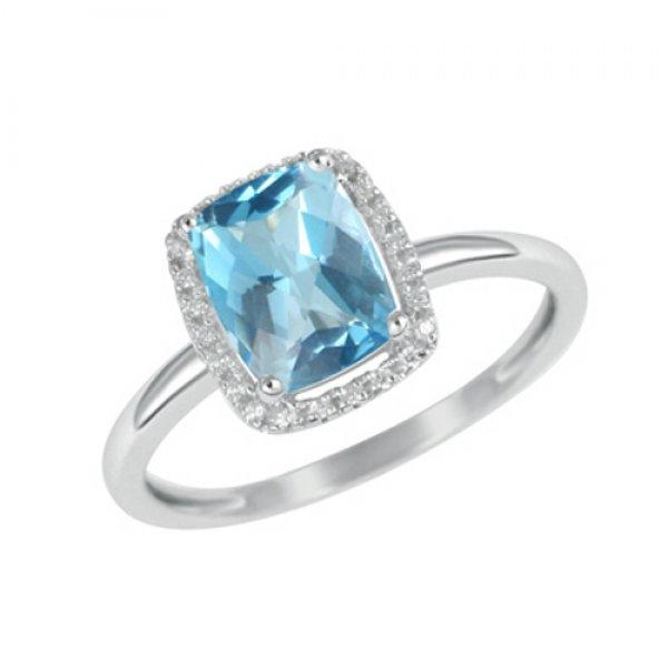Zlatý prsten s topazem a diamanty GKW47281TPZ