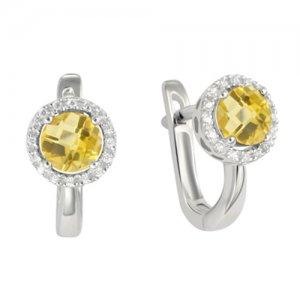 Náušnice z bílého zlata s diamanty a citrínem GKW47232CIT