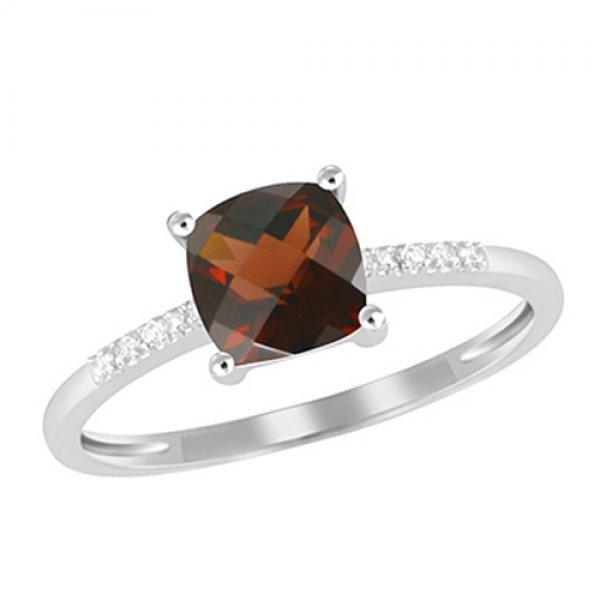 Zlatý prsten s diamanty a granátem GKW48525GR