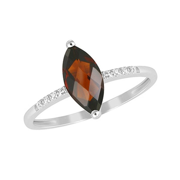 Zlatý prsten s granátem a diamanty GKW48529GR