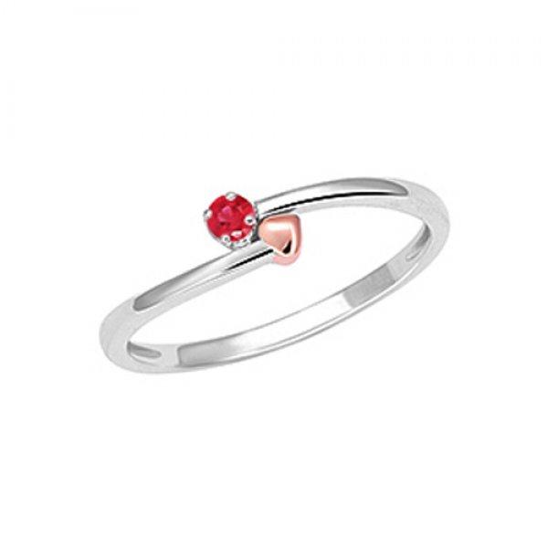 Prsten z bílého zlata s rubínem GKW57121RU