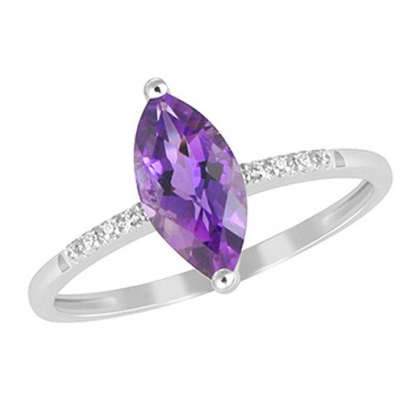 Prsten s ametystem a diamanty GKW48529AME