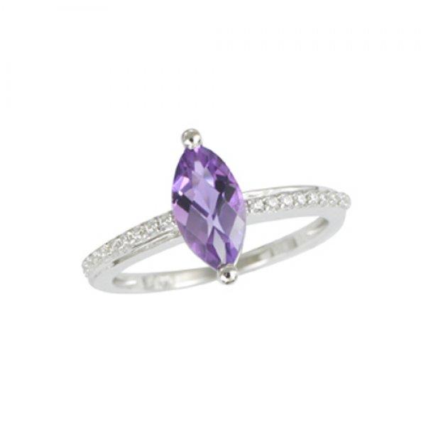 Zlatý prsten s přírodním ametystem a diamanty GKW54021AME