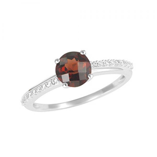 Zlatý prsten s diamanty a granátem GKW54221GR