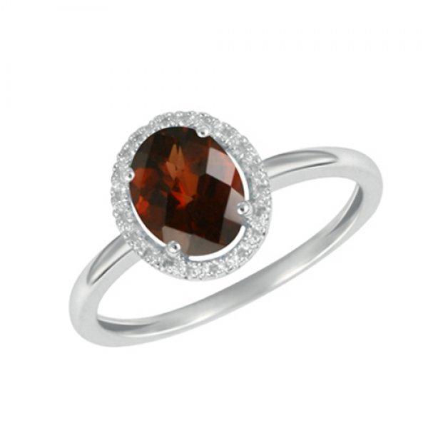 Prsten z bílého zlata s diamanty a granátem GKW47251GR
