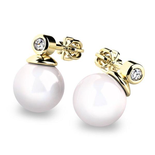 Náušnice s perlou a diamanty 10869-DIA