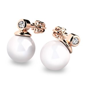 Náušnice s perlou a diamanty 10869CV-DIA