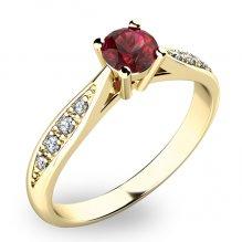 Dámský prsten s českým granátem a diamanty 10745Z-GRN