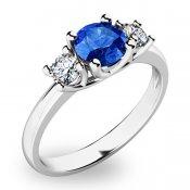 Prsten z bílého zlata se safírem a diamanty 10803B-SAF