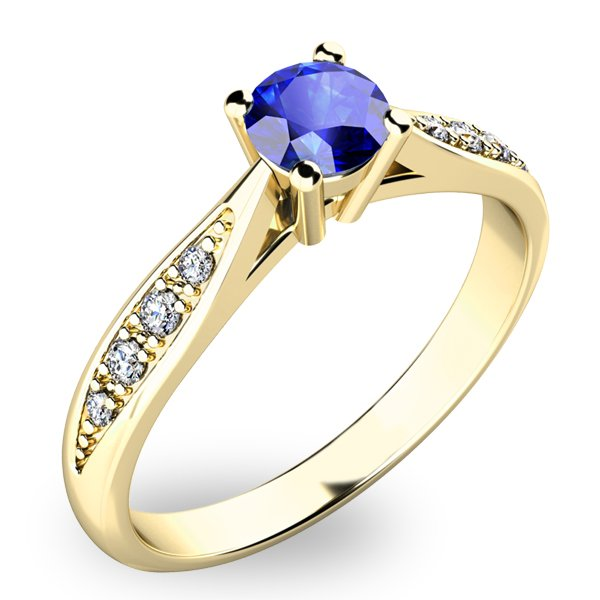 Prsten ze zlata se safírem a diamanty 10745Z-SAF