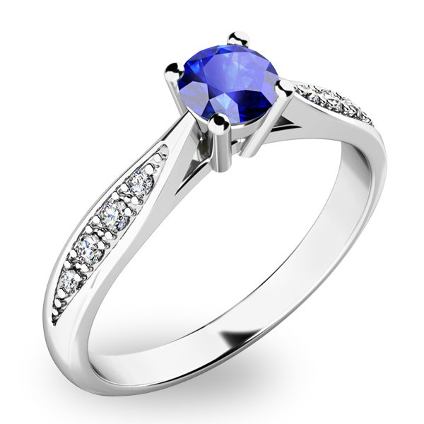 Prsten ze zlata se safírem a diamanty 10745B-SAF