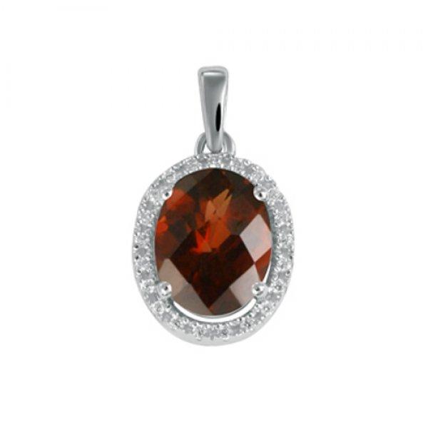 Přívěsek s granátem a diamanty GKW47253GR
