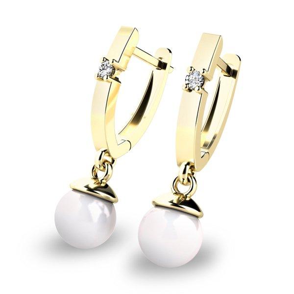 Visací náušnice s perlami a diamanty 10892-ZL-FW