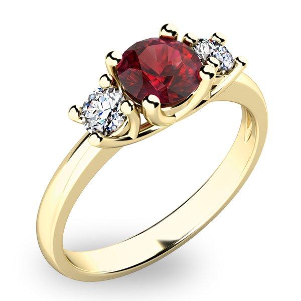 Prsten ze zlata s českým granátem a diamanty 10803Z-GRN
