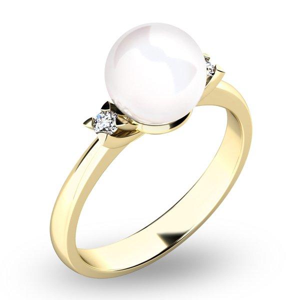 Perlový prsten s diamanty 10888-ZL