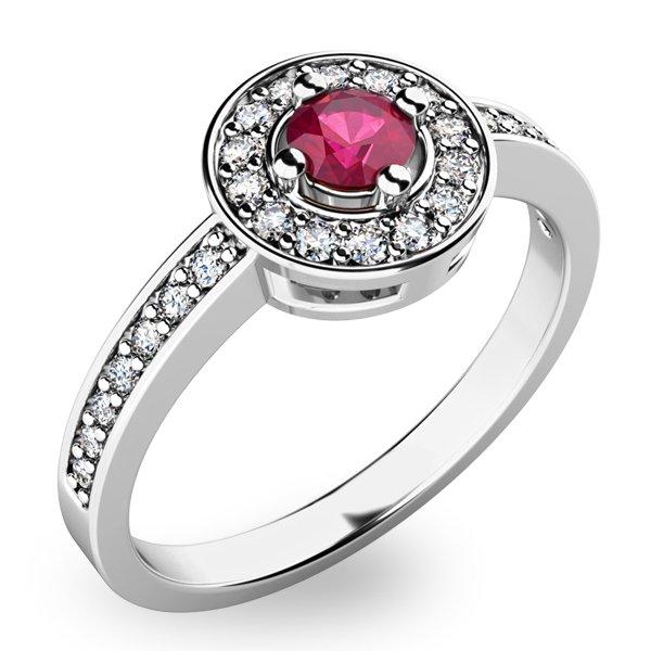 Zlatý prsten s rubínem a diamanty 10802B-RUB
