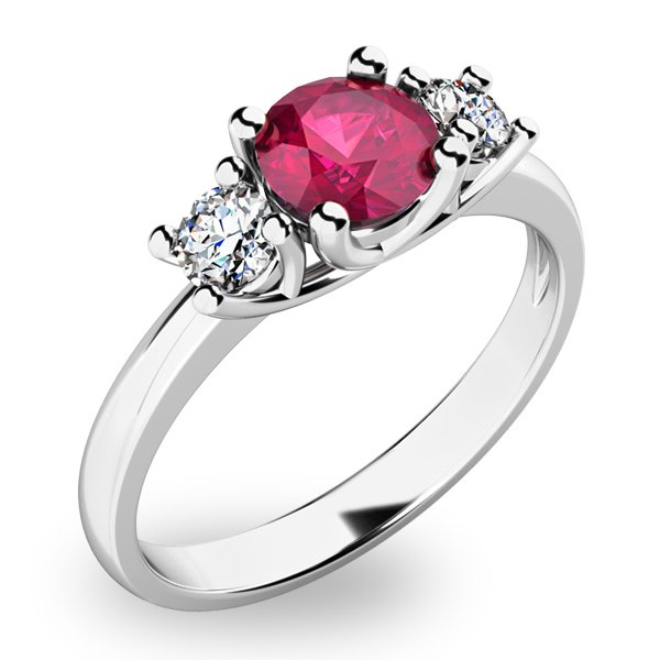 Zlatý prsten s rubínem a diamanty 10803B-RUB
