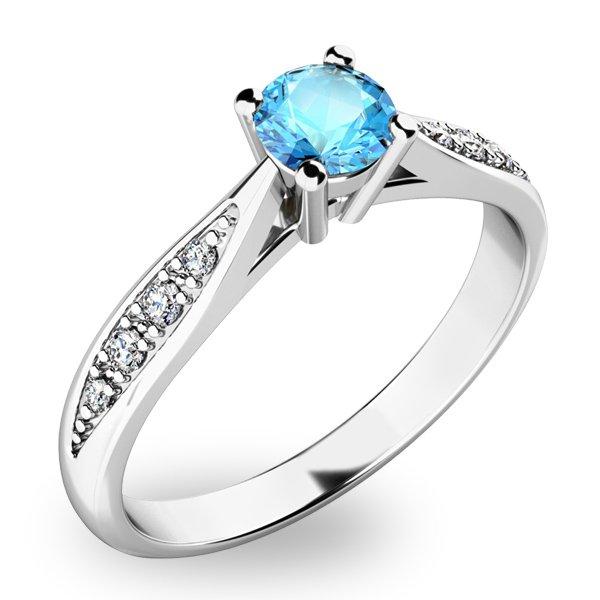 Prsten s diamanty a Topazem - Swiss Blue 10745B-TPZ