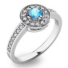 Zlatý prsten s topazem a diamanty 10802B-TPZ