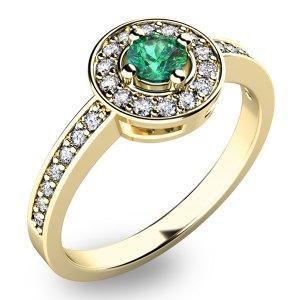 Prsten ze zlata se smaragdem a diamanty 10802Z-SMAR