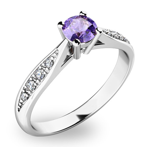Dámský prsten s tanzanitem a diamanty 10745B-TZNT