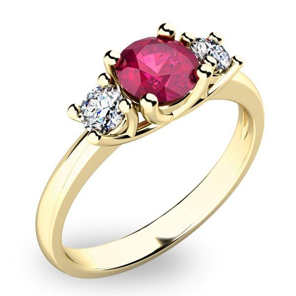 Zlatý prsten s rubínem a diamanty 10803Z-RUB