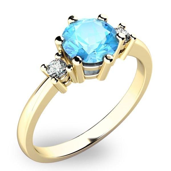 Dámský prsten s topazem a diamanty 10856Z-TPZ