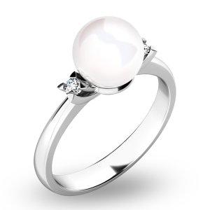 Perlový prsten s diamanty 10888-B