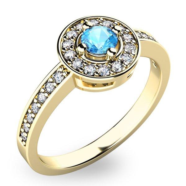 Zlatý prsten s topazem a diamanty 10802Z-TPZ