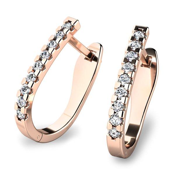 """Diamantové """"podkovičky"""" z růžového zlata 10862-CV"""