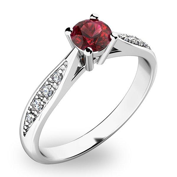 Dámský prsten s českým granátem a diamanty 10745B-GRN