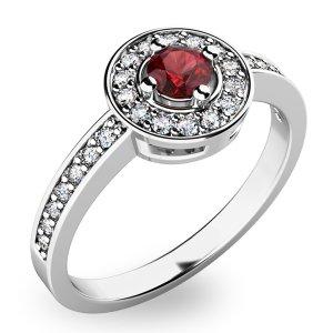 Prsten ze zlata s českým granátem a diamanty 10802B-GRN