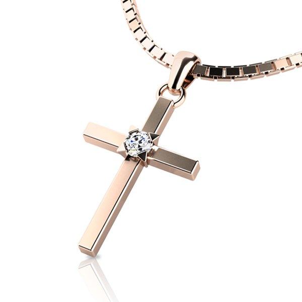Zlatý kříž s diamantem 10872-CV