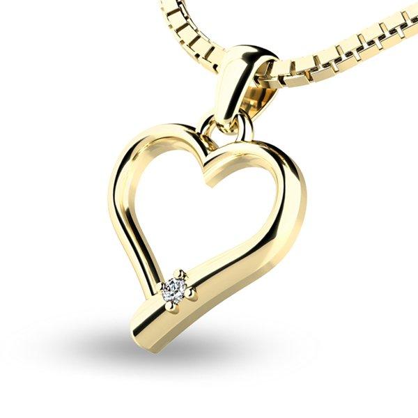 Srdce ze žlutého zlata s briliantem 10917-ZL