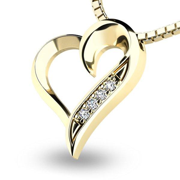 Diamantové srdce ze žlutého zlata 10873-ZL