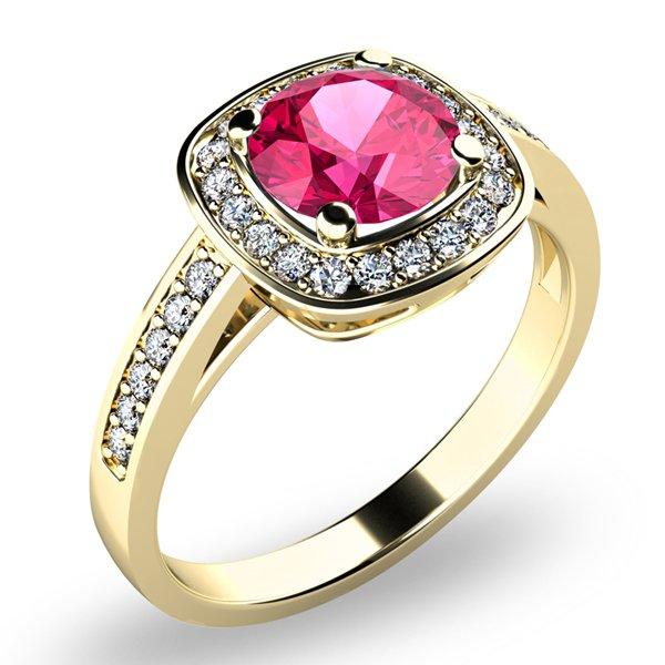 Dámský prsten s turmalínem a brilianty 10766-ZL-TUR