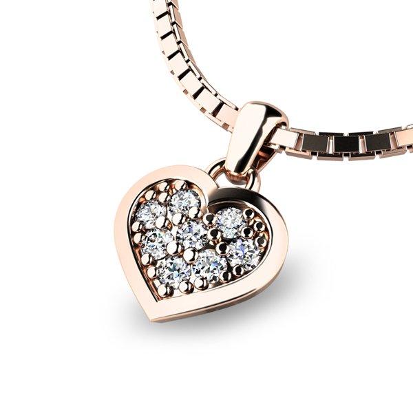 Zlaté srdce s brilianty 10877-CV-DIA