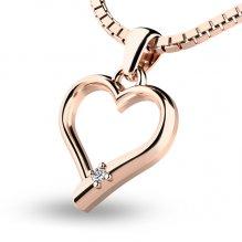 Srdce z růžového zlata s briliantem 10917-CV