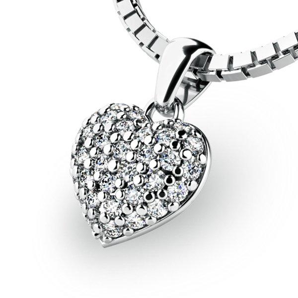 Srdce z bílého zlata s diamanty 10923-B-DIA