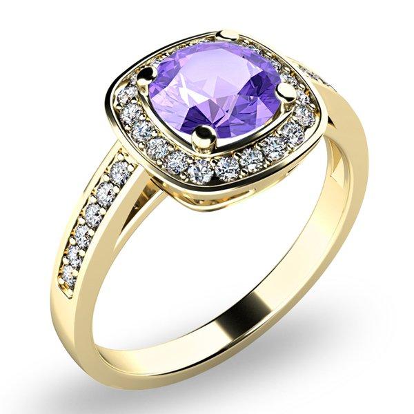 Dámský prsten s ametystem a brilianty 10766-ZL-AME