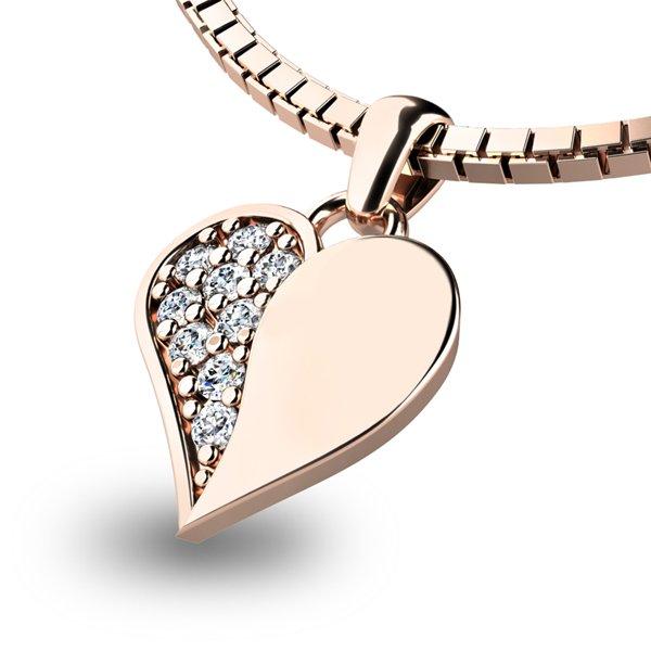 Přívěsek s diamanty z růžového zlata 10880-CV